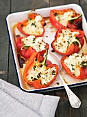 Peppers stuffed with feta and mozzarella