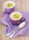 Cream of leek soup with fried ham