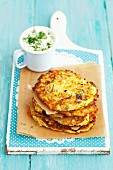 Yellow courgette fritters with dill