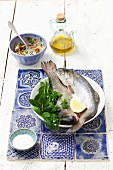 Fresh trout with herbs and lemon