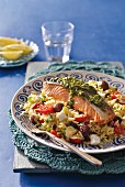 Mediterranean kritharaki with a salmon steak