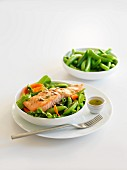 Salmon salad with peas