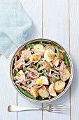 Potato salad with ham, egg, green beans and a mustard vinaigrette