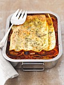 Vegetable lasagne with peppers, aubergines, tomatoes, courgettes and onions