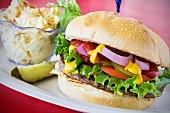 California burger with potato salad