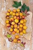 Yellow plums with colourful vine leaves on a piece of parchment paper