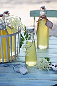 Elderflower syrup in flip-top bottles