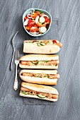 Hot dogs with gherkins and onion relish