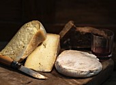 Various types of mountain cheese from Italy