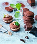 Chocolate whoopie pies with mint