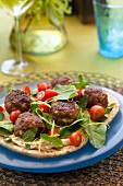 Pita bread with lamb meatballs