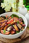Aubergine haloumi salad