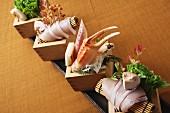 Mussel sashimi with mushrooms (Japan)
