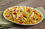 Fried rice with chicken, prawns and vegetables