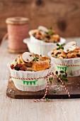 Spicy mushroom muffins with ham