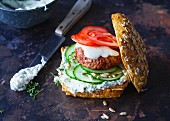 A garden burger with herb cream cheese
