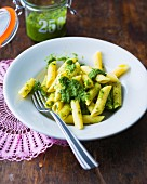 Penne pasta with parsley pesto