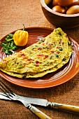 Omelette with chilli peppers and coriander (Spain)