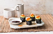Gunkan maki with avocado and caviar
