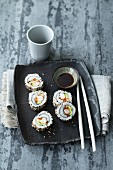 California rolls and soy sauce