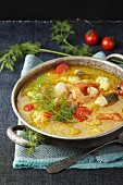 Cod curry with prawns, coconut milk and cauliflower