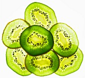 Back lit slices of kiwi