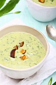 Wild garlic soup with croutons