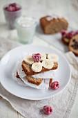 Banana bread with frozen raspberries and fresh bananas