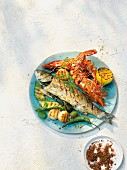 A mixed grilled fish platter