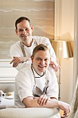 Christoph Rüffer with his sous chef Tobias Günther, Haerlin restaurant in the Fairmont Hotel Vier Jahrezeiten