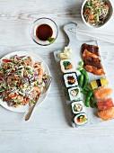 Vietnamese salad, glass noodle salad and sushi