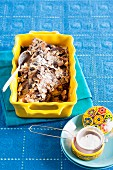 Capirotada – Mexican bread pudding with flaked almonds