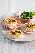 Three mini spinach quiches