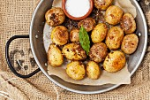 Mini roast potatoes with a Parmesan coating
