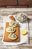 Apple and herring salad with mayonnaise on apple slices