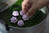 Chor Muang (flower shaped dumplings, Thailand) being steamed