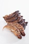 Dried fish on a white surface
