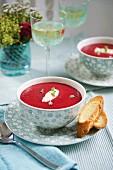 Beetroot soup with crème fraîche