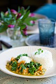 Chickpea curry with kale and rice