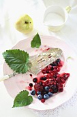 Mixed berries and cake server on plate