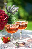 Two glasses of strawberry Prosecco with lavender flowers