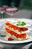 A shortbread mille feuille with mustard cream and strawberries