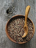 Mixed quinoa in a wooden bowl with a spoon