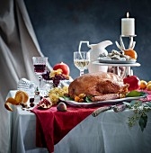 Roast goose on a Christmas table