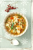 Fish soup with Atlantic cod and vegetables (Christmas)