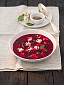Beetroot soup with dumplings (Poland)