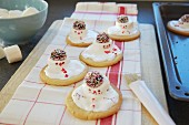 Snowmen biscuits made from shortbread with marshmallows