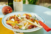 Peach salad with ham and cheese