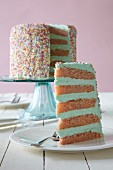 A layer cake with coloured sprinkles for Valentine's Day