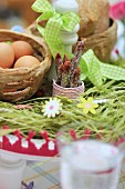 A woven basket made from bread as decoration for an Easter table